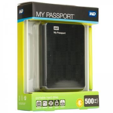 HD Externo Portátil WD My Passport 500GB USB 3.0 - WDBKXH5000ABK