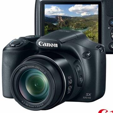 Câmera Digital Canon PowerShot SX520HS, 16.1MP, Zoom Óptico 42x, Full HD - Preta