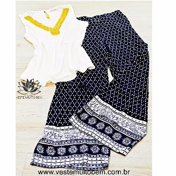 Calça Flare Pijama Estampada