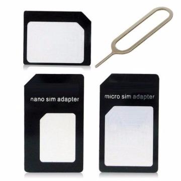 KIT ADAPTADOR CHIP GSM NANO MICRO SIM CHIP 3 EM 1 - AD0195
