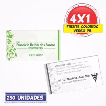 Cartão de Visita Couchê 250g | UV FR | 9x5 | 4x1 | 250 UNID