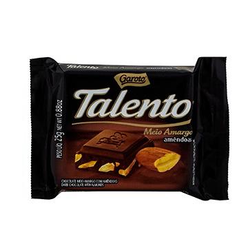 Chocolate Talento Meio Amargo c/ Amêndoas 25GR
