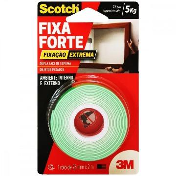 Fita Dupla Face 3M Fixa Forte Scotch Fixação Extrema Ambiente Interno/Externo 24mm x 2m