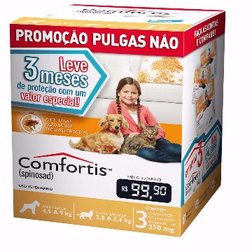 Anti-pulgas Comfortis Tablete 270mg - 4,5 a 9kg - COMBO 3 UNIDADES