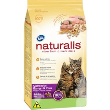 Ração Naturalis Premium Esp. Gatos Castrados Frango e Peru 10,1kg
