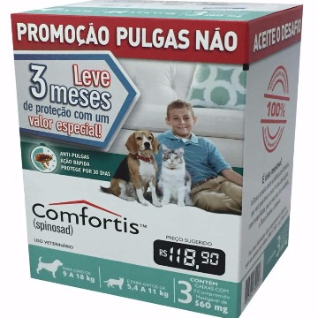 Anti-pulgas Comfortis Tablete 560mg - 9 a 18kg - COMBO 3 UNIDADES