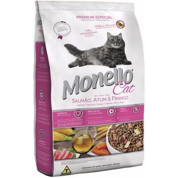Ração Monello Premium Esp. Gatos  Adultos Salmão, Atum e Frango 1kg