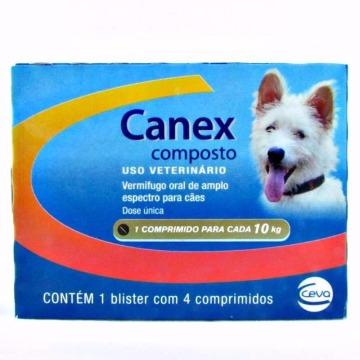 Vermifugo Canex Composto para Cães 10kg - C/4 Comp.