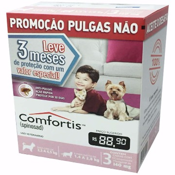 Anti-pulgas Comfortis Tablete 140mg -  2,3kg a 4,5kg - COMBO 3 UNIDADES