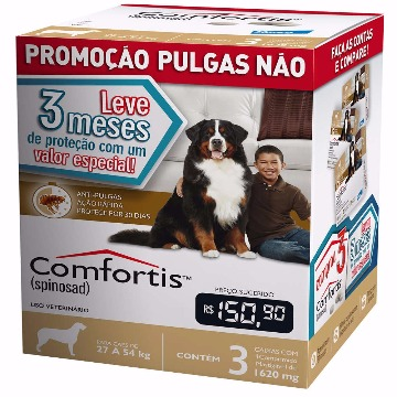 Anti-pulgas Comfortis Tablete 1620mg - 27 a 54kg - COMBO 3 UNIDADES