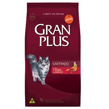 Ração Gran Plus Premium Especial Gatos Castrados Carne e Arroz 3kg