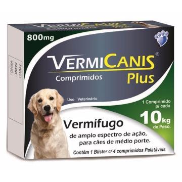 Vermifugo Vermicanis Plus 800mg para Cães até 10kg - C/4 Comp.