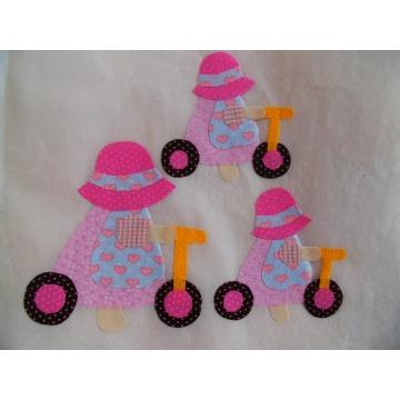 camponesa com bicicleta kit 3 pçs 15cm 10cm 8cm
