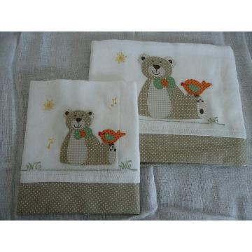 kit de fralda e lenço de boca bordada