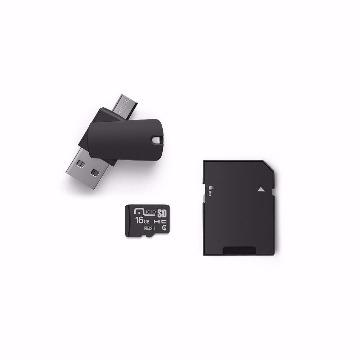 4X1: ADAPTADOR PENDRIVE DUAL OTG+ADAPTADOR SD+CARTAO MEMORIA C10 16GB (05)