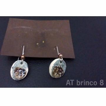 Brincos de cerâmica com vidro (série 2)