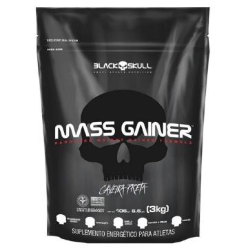 MASS GAINER REFIL - 3Kg - Baunilha - Caveira Preta - Black Skull