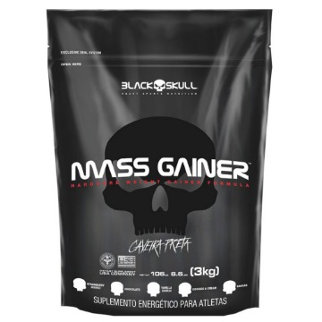 MASS GAINER REFIL - 3Kg - Chocolate - Caveira Preta - Black Skull