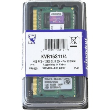 Memoria Notebook 4GB DDR3 1600Mhz Kingston KVR16s11/4