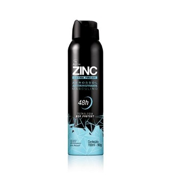 Desodorante Masculino Aerossol ZINC Extra Fresh, 150ml/90g