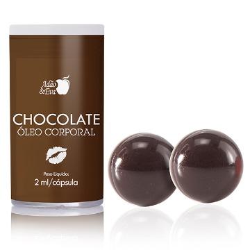 Cápsula com Óleo Corporal Beijável Chocolate