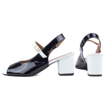 Sapato Peep Toe Preto e Branco 297A