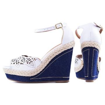 Sandália Anabela Branca e Jeans AA2260