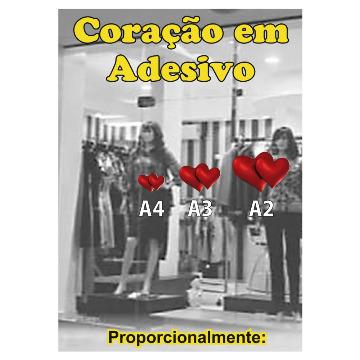 Coração Duplo p/ Decoração (2 unid. Vinil Autoadesivo). Tamanho: A3 - 30 x 42cm.
