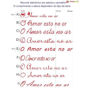 Adesivos de Recorte - Vermelho - Dia dos Namorados - Tamanho: até 224 x 25 cm
