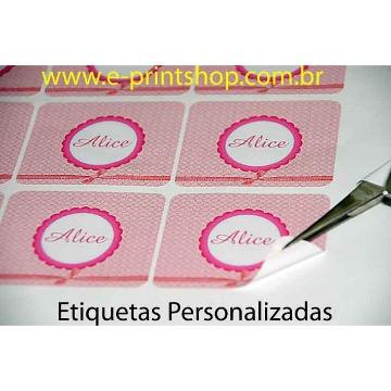 Etiquetas em VINIL Adesivo TRANSPARENTE c/ TINTA BRANCA com meio-corte Personalizado