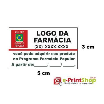 5.000 Etiquetas adesivas  em Papel - Farm. Popular. (Personalizado c/ sua logo e telefone)