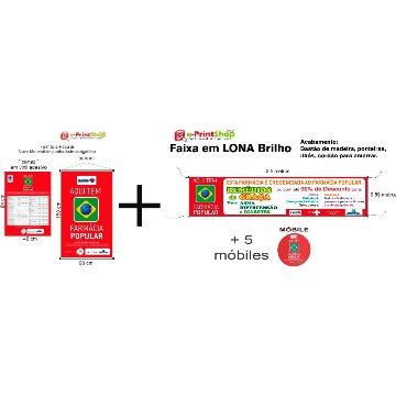 1 kit obrigatório + 1 faixa pqna 250 x 55 cm + 5 móbiles