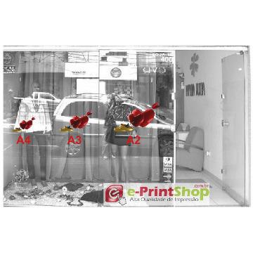 Adesivo: Coração e Alianças p/ Decoração de Vitrine Dia dos Namorados (Quantidade: 2 adesivos-Tamanho: A3 - 29,7x42cm.)