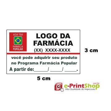 10.000 Etiquetas adesivas  em Papel - Farm. Popular. (Personalizado c/ sua logo e telefone)