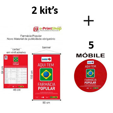 NOVO Material Publicitário Obrigatório: KIT FARMÁCIA POPULAR - Saúde Não Tem Preço - Banner e Cartaz (2 kit + 5 Móbiles-Programa Farmacia Popular)