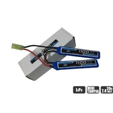 BATERIA LIPO - 7.4V - 2S (2 PACK) - 1100MAH - 20C/40C - AIRSOFT - MINI TAMIYA PLUG