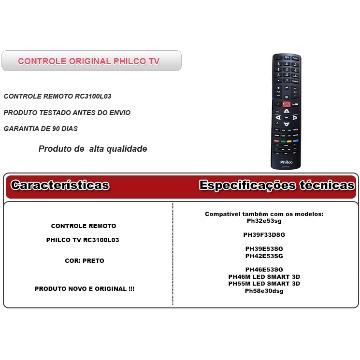 CONTROLE TV SMARTH PHILCO RC 3100L03
