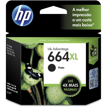 Cartucho de Tinta HP 664XL 664 Preto F6V31AB F6V31A | 1115 2136 3636 3836 3635 4676 | Original 8,5ml