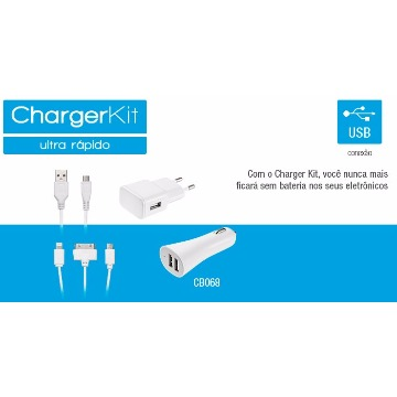 CHARGERKIT ULTRA RÁPIDO CARREGUE ANDROID E IPHONE - MULTILASER