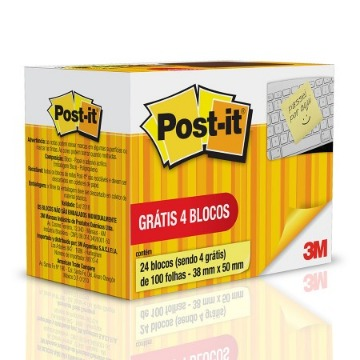 BLOCO ADES POST IT MOD653 38X50 LV24 PG20 C/100FLS