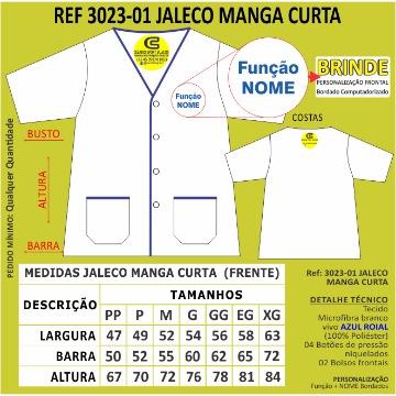 3023 Jaleco manga curta