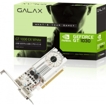 Placa de Video Galax GeForce GT 1030 LOW Profile EX White 2Gb DDR4 64 Bits DVI/HDMI