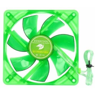 Cooler (Gabinete) Evercool EGF-12 120X120X25mm Led Verde