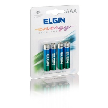 Pilha Alcalina Elgin AAA LR03 1.5V C/ 4