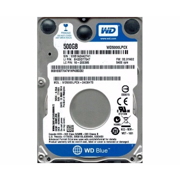 HDD Notebook 500Gb Western Digital Blue SataIII WD5000LPCX-00VHAT0