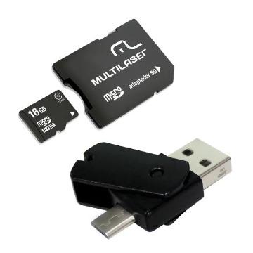 Kit Pen Drive USB/OTG e Cartão de Memória Micro SD 16Gb C/ Adaptador Multilaser - MC131