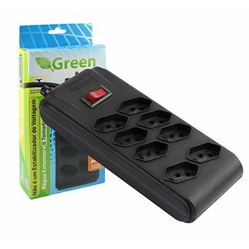 Régua Extensora 8 Tomadas Green Bivolt - Chip SCE 075-9518