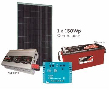 Kit OffGrid- Energia Solar  220Vac 700W com Bateria 150Ah