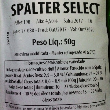 Lúpulo H Spalter Select 2017 4,5aa - 50 g