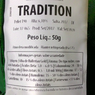 Lúpulo H Tradition 2017 6,1aa - 50 g